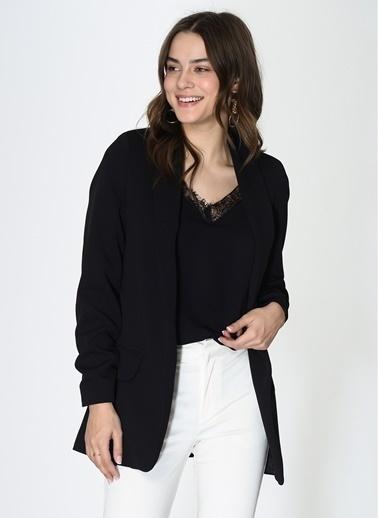 Loves You Kolu Büzgülü Astarlı Blazer Ceket Siyah